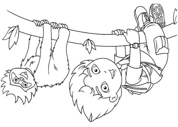 Diego Hanging Upside Down in Go Diego Go Coloring Page