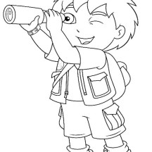 Diego Observe with Telescope in Go Diego Go Coloring Page