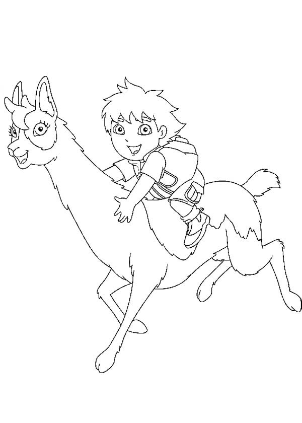 Diego Ride Ilama in Go Diego Go Coloring Page