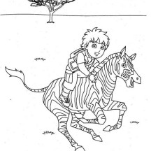 Diego Ride a Zebra in Go Diego Go Coloring Page