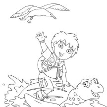 Diego Sitting on Turtles Back in Go Diego Go Coloring Page