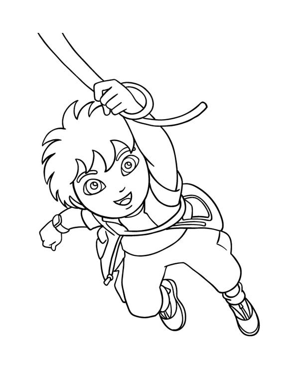 Diego Swinging on Rope in Go Diego Go Coloring Page