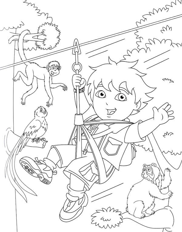 Diego Swings with Monkeys in Go Diego Go Coloring Page