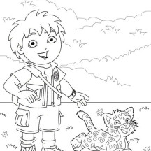 Diego Walk with His Baby Jaguar in Go Diego Go Coloring Page