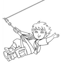 Diego Ziplining in Go Diego Go Coloring Page