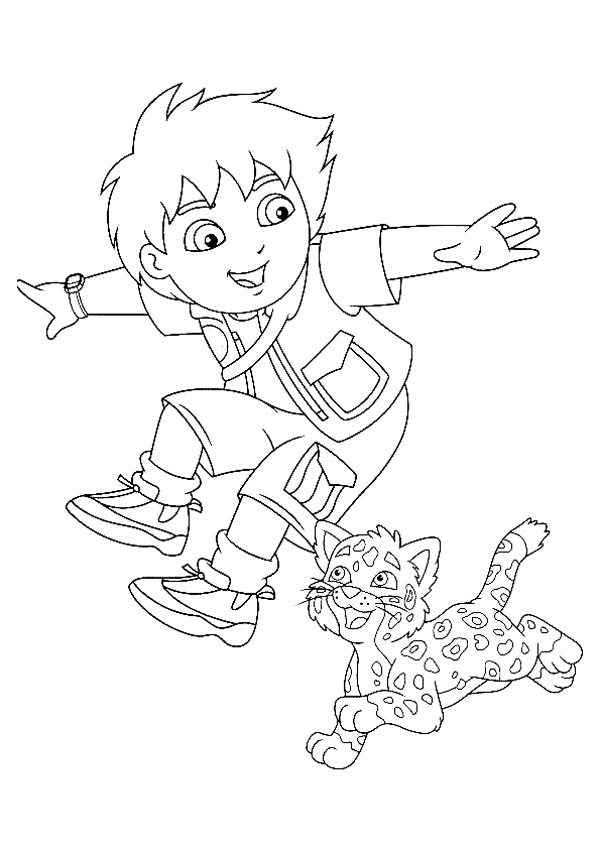 Diego and His Adorable Pet Baby Jaguar in Go Diego Go Coloring Page