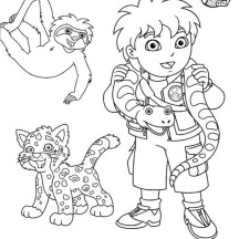 Diego and Protected Animal in Go Diego Go Coloring Page