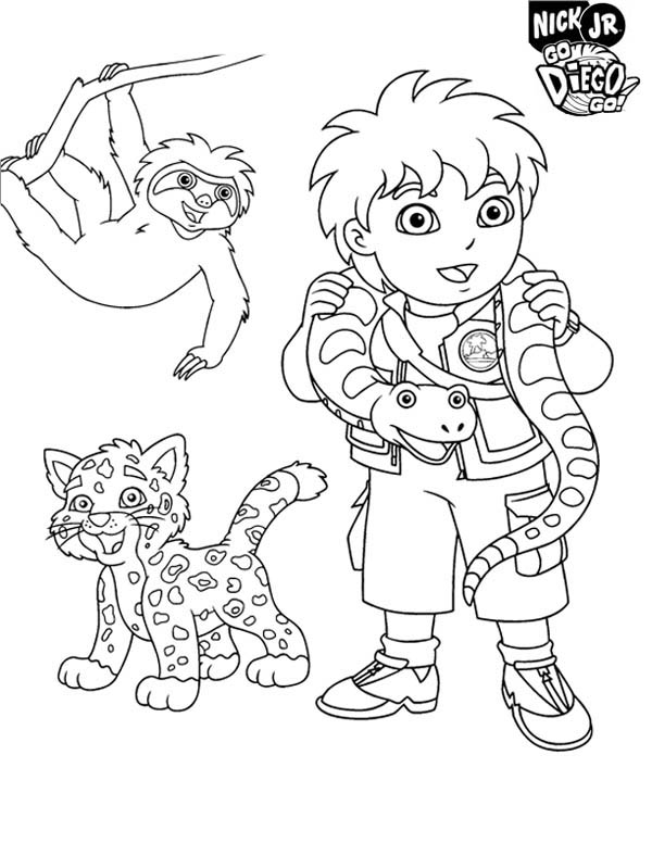 Diego And Protected Animal In Go Diego Go Coloring Page Netart