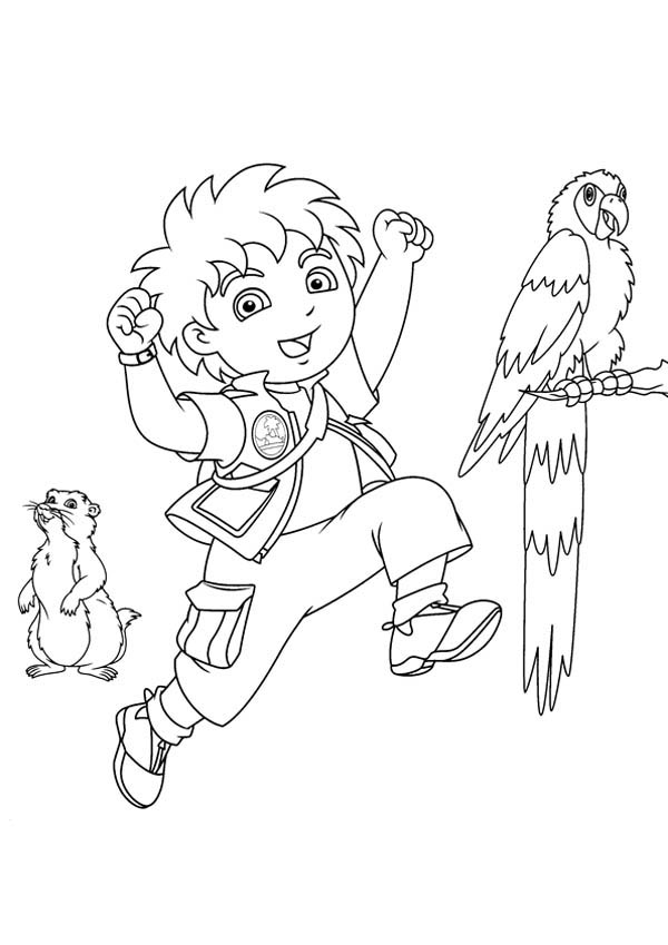 Diego is Care for Animals in Go Diego Go Coloring Page
