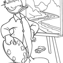 Donald Duck Painting Coloring Pages