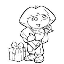 Dora Had a Lot of Present in Dora the Explorer Coloring Page