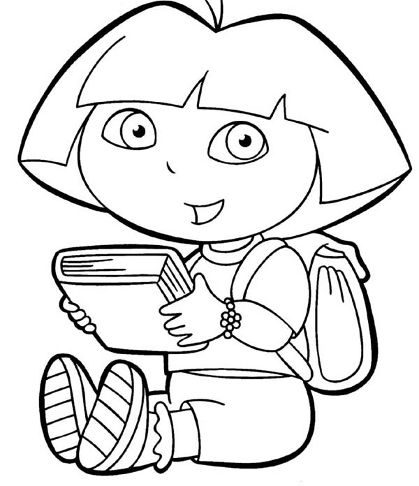 Dora like to read in dora the explorer coloring page netart - Dessin a colorier dora ...