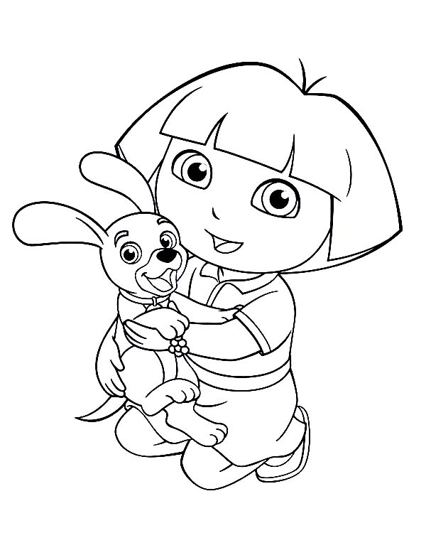 Dora Love Her Dog in Dora the Explorer Coloring Page