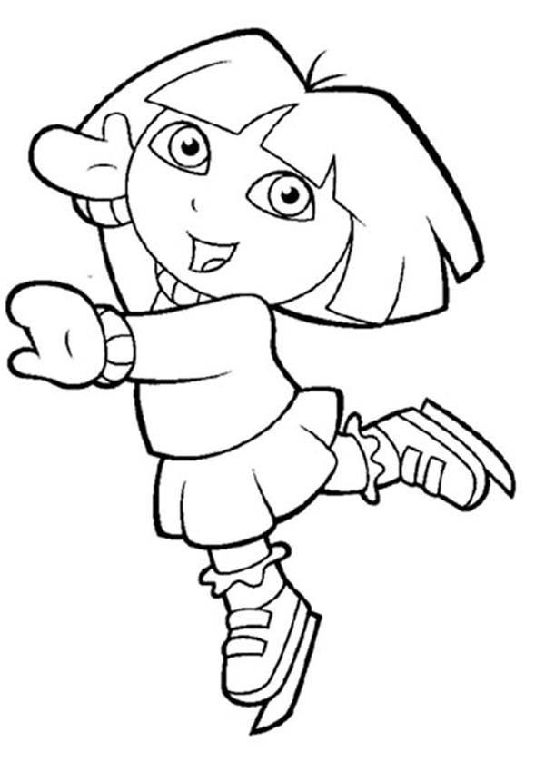 Dora Play Ice Skating in Dora the Explorer Coloring Page