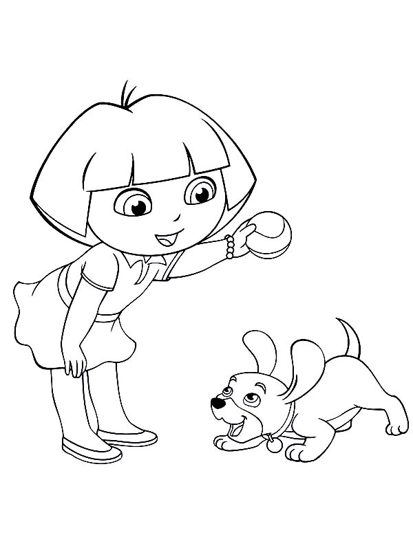 Dora Playing Catch with Her Dog in Dora the Explorer Coloring Page