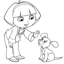 Dora Teach Little Dog to Stay in Dora the Explorer Coloring Page