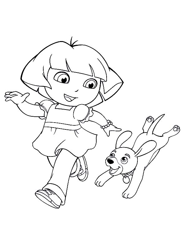 Dora Walking Her Dog in Dora the Explorer Coloring Page