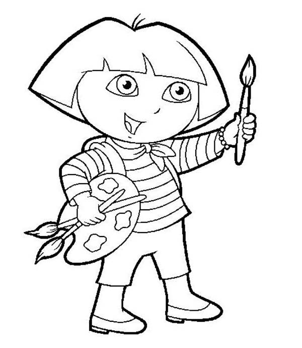 Dora Want to Paint in Dora the Explorer Coloring Page