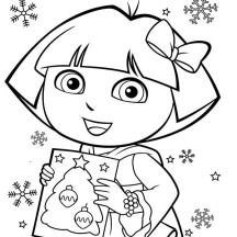 Dora and Book of Christmas Tree in Dora the Explorer Coloring Page