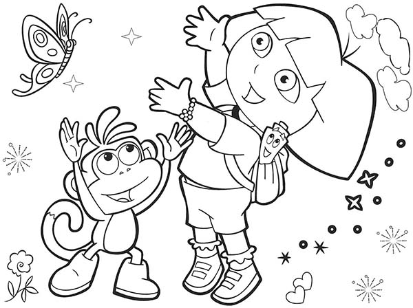 Dora and Boots and Beautiful Butterfly in Dora the Explorer Coloring Page