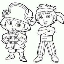 Dora and Diego Play Pirate in Dora the Explorer Coloring Page