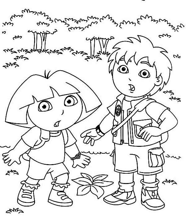 Dora and Diego in the Forest in Dora the Explorer Coloring Page