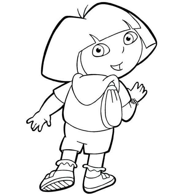 Dora and Her Backpack in Dora the Explorer Coloring Page