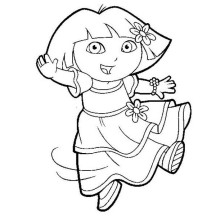 Dora is Dancing in Dora the Explorer Coloring Page