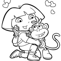 Dora is Happy be Friend with Boots in Dora the Explorer Coloring Page