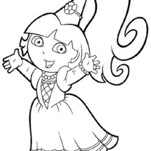 Dora the Princess in Dora the Explorer Coloring Page