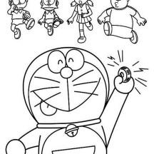 Doraemon Calling Nobita Suneo Shizuka and Giant Coloring Pages
