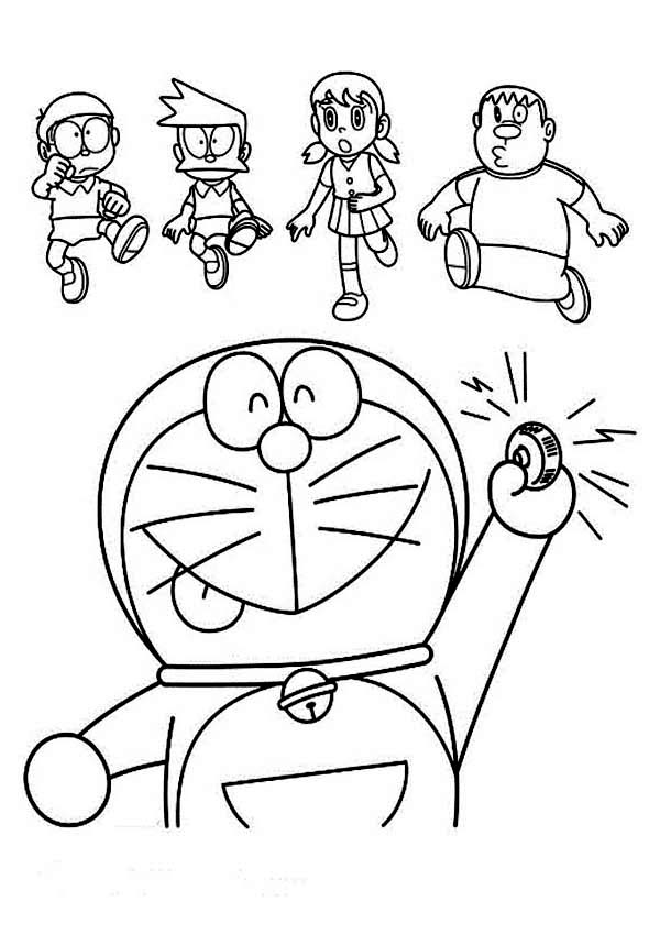 Doraemon Calling Nobita Suneo Shizuka and Giant Coloring Pages