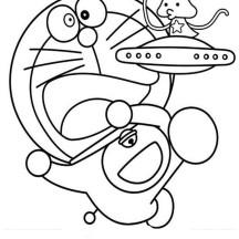 Doraemon with Cute Alien Coloring Pages