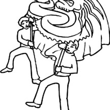 Dragon Dance in Chinese Symbols Coloring Page