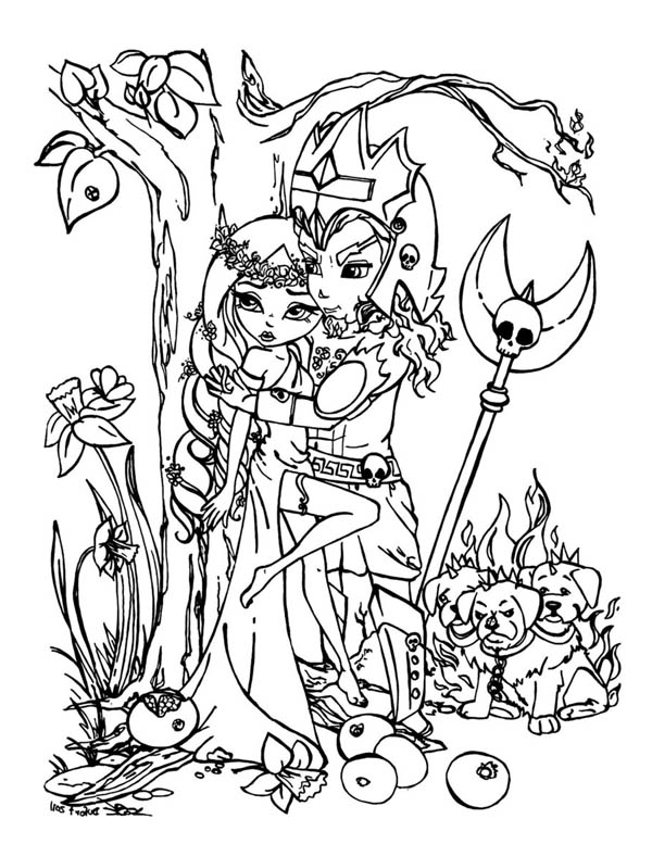 Drawing Manga Of Hades And Persephone Coloring Page Netart