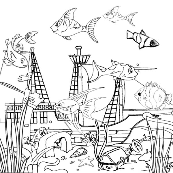 Drowning Galeon Inside Fish Tank Coloring Page