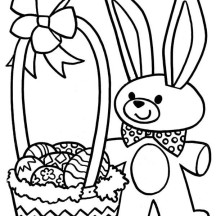 Easter Bunny and a Bucket of Easter Eggs Coloring Page