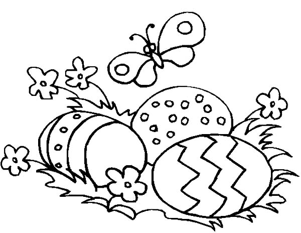 Easter Eggs and a Butterfly Coloring Page