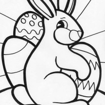 Easter Hugged by a Rabbit Coloring Page