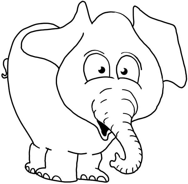 Elephant Surprise Face Coloring Page