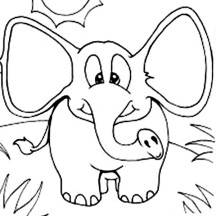 Elephant with Wide Ears Coloring Page