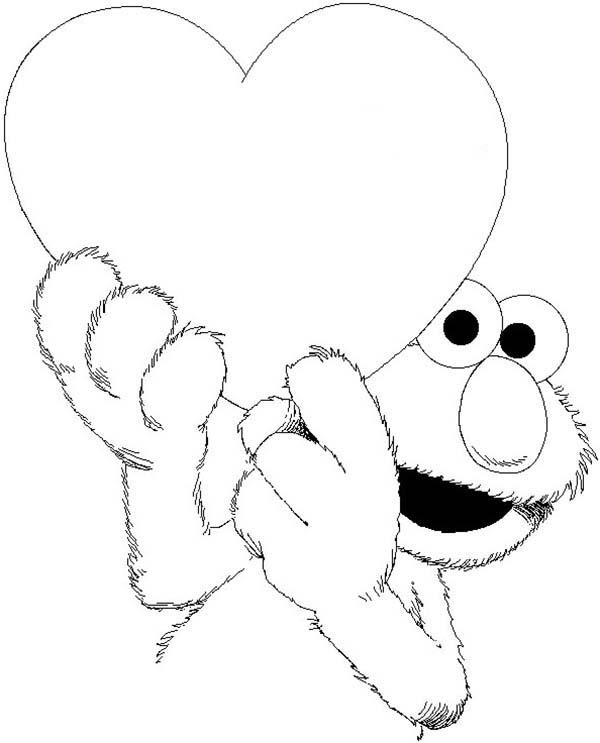 Elmo Has Big Love Coloring Page