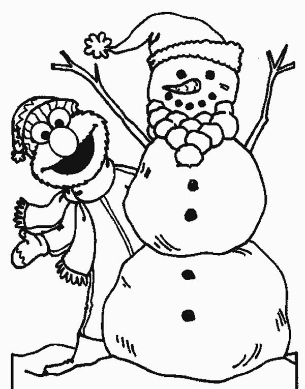 Elmo Hiding Behind Snowman Coloring Page