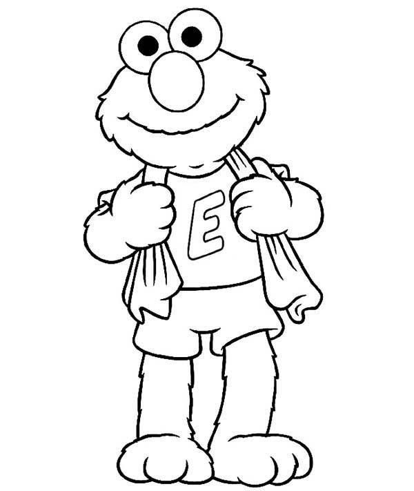 Elmo Just Take a Bath Coloring Page