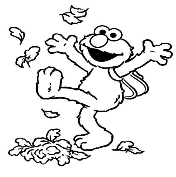 Elmo Kicking Dry Leaves Coloring Page