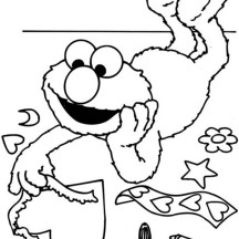 Elmo Make a Greeting Card Coloring Page