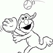 Elmo Playing Catch Coloring Page