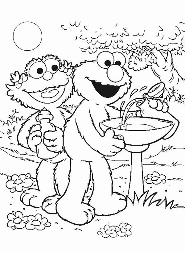 Elmo and Zoe Filling a Bottle with Water Coloring Page