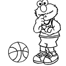 Elmo is a Basketball Player Coloring Page