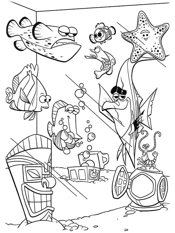 Finding Nemo Fish Tank Coloring Page